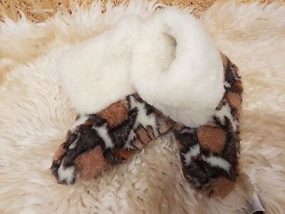 Unisex Ladies Gents Slip On Ankle Booties Warm Fluffy Fur Lined Slippers Db
