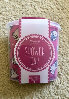 New Pug Print Shower Cap Pink With Shower Holder