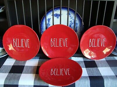 """❤️4 NEW Rae Dunn 11"""" BELIEVE Plates Red with White Letters LL Dinner Christmas"""