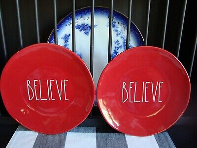 """❤️2 NEW Rae Dunn 11""""  BELIEVE Plates Red w/ White Letters LL Dinner CHRISTMAS"""