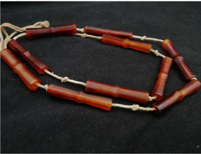 Ancient China Collection,natural red old agate Bamboo festival Necklace