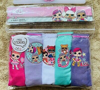 LOL Surprise! Girls Underpants / Knickers x 5 - 100% Cotton - Age 7-8 New