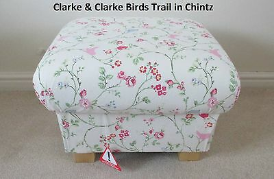 Clarke & Clarke Birds Trail Fabric Footstool Footstall Dressing Table Stool New