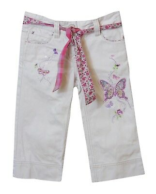 Girls Next White Denim Embroidered Butterfly Belted Cropped Jeans Age 6 Years