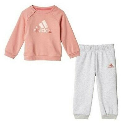 Adidas Infant Baby Girls Fleece Tracksuit Kids Joggers Full Set Outfits 3-4 year