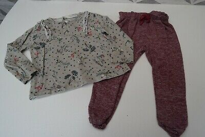 ZARA GIRLS LONG SLEEVE TOP & BOTTOMS AGE 3 to 4 YEARS -  A25