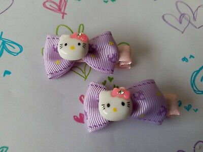 Brand New 1 Pair Beautiful Hello Kitty Bow Hair Clips For Girls Kids
