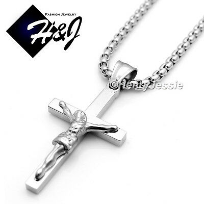 """16-32/""""Stainless Steel 2mm Gold Smooth Box Link Chain Necklace Cross Pendant*GP"""