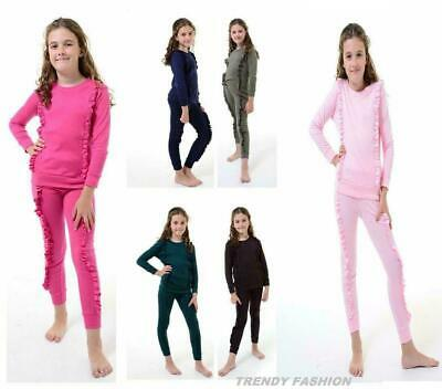 NEW KIDS GIRLS RUFFLE FRILL DETAIL TOP /& BOTTOM LOUNGEWEAR CO ORD SET TRACKSUIT
