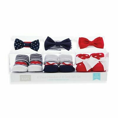 Hudson Baby Girls 6 Piece Sock and Headband Gift Set Red White Blue 0-9 Months