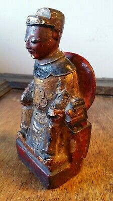 Antique Chinese Statuette Court Figure - Wood Polychrome Gesso Statue / Shrine