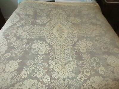 Vintage Net Lace Tablecloth & Table Runner - Repair Cutter