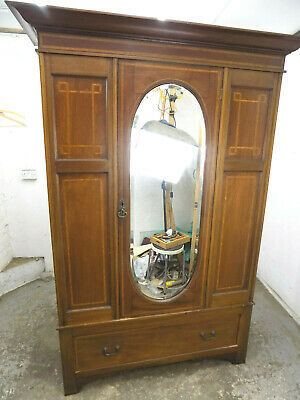 antique,edwardian,mahogany,double wardrobe,mirrored doors,drawer,wardrobe
