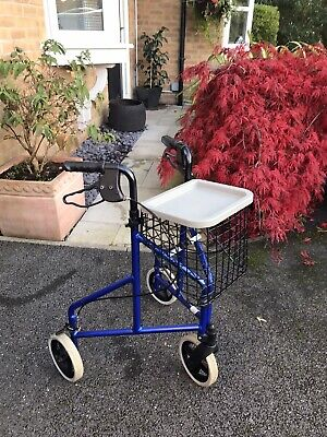 Tri Walker Disability Walking Aid With Removable Front Basket And Lid/ Cover