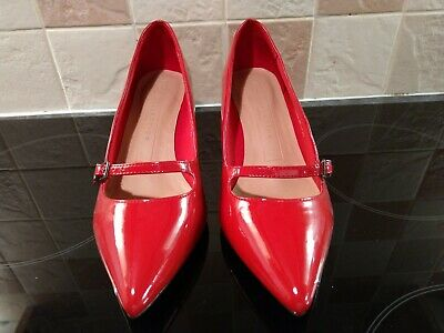 Marks & spencer - Gorgeous Red Patent Style Shoes - Vegan - Sz 4 Wide Fit - NEW