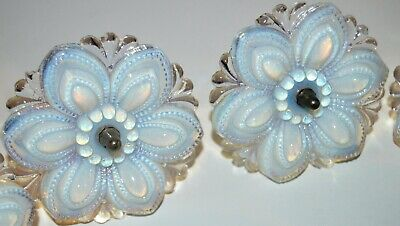 """Victorian Opalescent Glass Flowers Rosettes Curtain Tie Backs 5 PC 4.5"""" HUGE"""