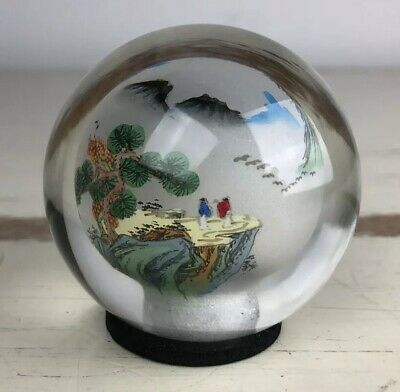 RARE Japanese reverse painting landscape scene GLASS ORB paperweight Vintage