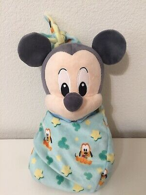 "Disney Parks Mickey Mouse Baby Plush with Blanket Pouch 10"" Disney Babies"