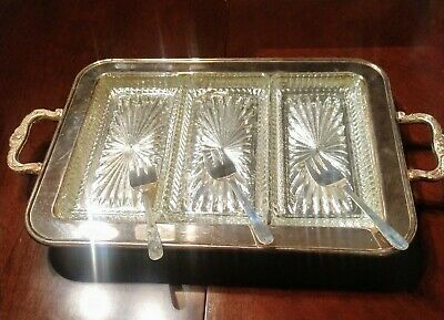 VTG Towle Silverplate Handled Footed Relish Tray w/ 3 Glass Inserts & Forks