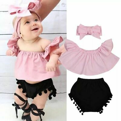 Romper Swimsuit Ruffle Tops Off Shoulder T-shirt Black Pants Baby Girl Outfits