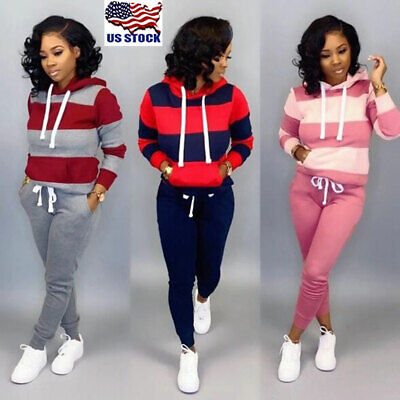2pcs Women Striped Tracksuit Jogging Casual Sports Hoodies Sweatshirt Pants Suit