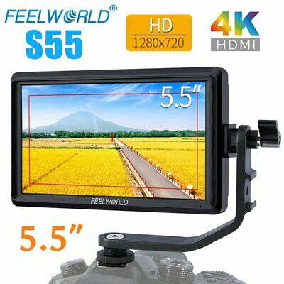 "Feelworld S55 5.5"" IPS HD 1280x720 4K HDMI Video Field Monitor For DSLR Camera"