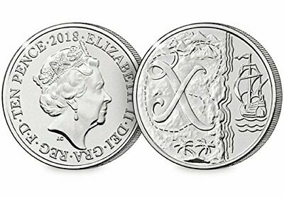 2018 10p X marks the spot - NEW Alphabet A-Z Ten Pence Coin - Uncirculated