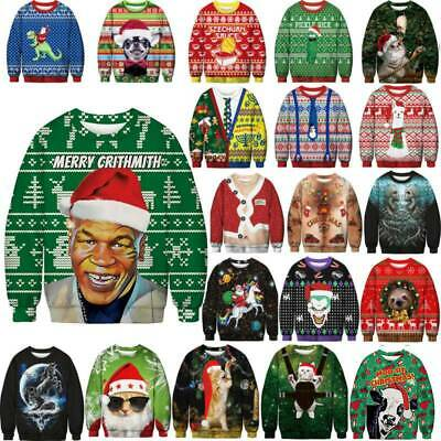 Unisex Ugly Christmas Sweater Funny Santa Women Men Xmas Jumper Sweatshirt Tops