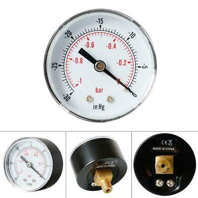 "Vacuum Gauge 52 mm -1/0 Bar -30""Hg/0 1/8 BSPT Back Connection Air Water Oil Gas"