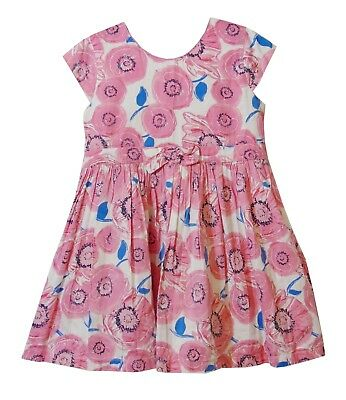Girls Matalan Pink Poppy Floral Cap Sleeve Fully Lined Party Dress Age 3-4 Years