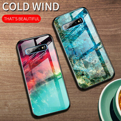 For Samsung Galaxy S10 S9 Plus Note10+ Gradient Marble Tempered Glass Case Cover