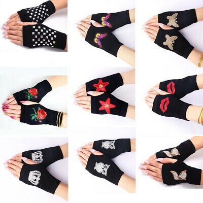Women Fingerless Knitted Gloves Black Casual Combed Cotton Winter Warm Mittens