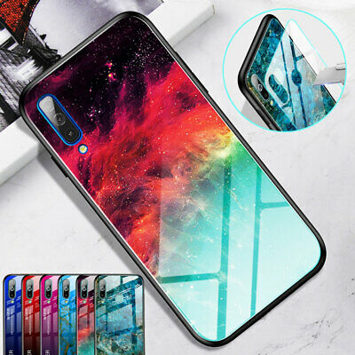 Hybrid Marble Gradient Tempered Glass Case Cover for Samsung Galaxy A50 A70 A40