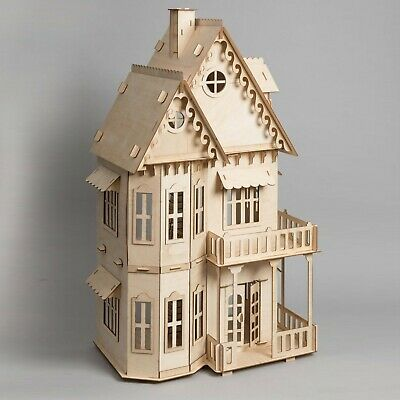 Large Gothic Style Wooden Doll House 72cm Height 1:12 Great Kids Gift Home Decro