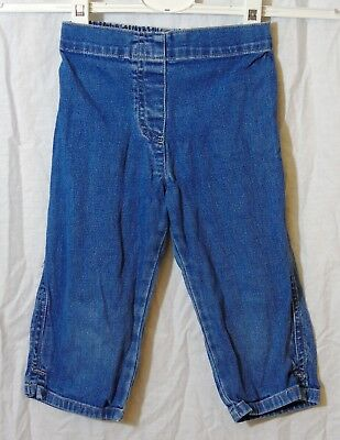 Girls Mothercare Blue Denim Elasticated Waist Cropped Capri Jeans Age 3-4 Years