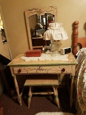 Antiqued Vanity Dove Tail Drawers Crackle Paint