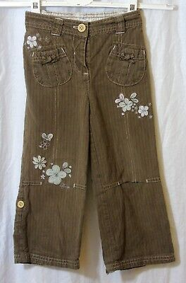 Girls Next Brown Embroidered Floral Adjustable Length Trousers Age 2-3 Years