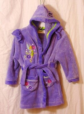 Girls Disney Lilac Tinker Bell Soft Fleece Hooded Dressing Gown Robe Age 3 Years