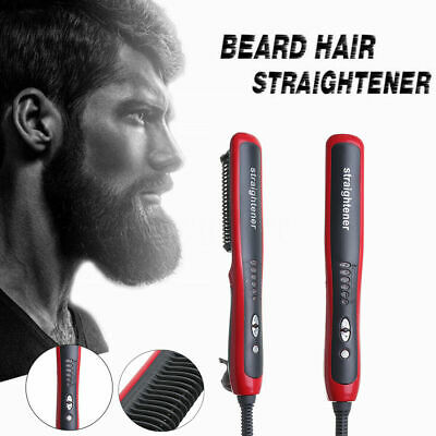 Men Beard Curling Straightener Brush Hair Comb Straightening Show Cap Quick AU