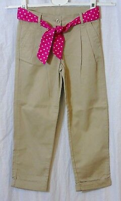 Girls Monsoon Beige Adjustable Waist Turn Up Belted Chino Trousers Age 5-6 Years