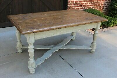 Antique English Pine & Painted Oak Farmhouse Dining Table Kitchen Island Cottage