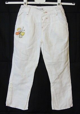 Girls M&S Autograph White Linen Embroidered Capri Cropped Trousers Age 3-4 Years
