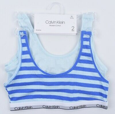 CALVIN KLEIN Girls' 2-pack Pull Over Bralette, Modern Cotton, Mint/Blue 14-16 y