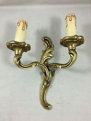 Antique French Bronze Double Rococo Wall Light Candle Sconce Louis XV style