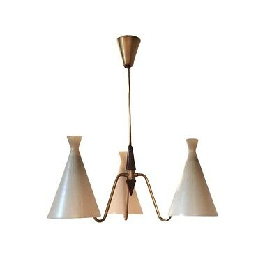 Fog & Morup Pendant Lamp 1950s Suspension Vintage Design Danois Teak Verre Deco