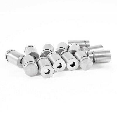 1X(Stainless Steel Advertising Nail Screw Glass Standoff 12 x 20mm 15 Pcs M6P5)