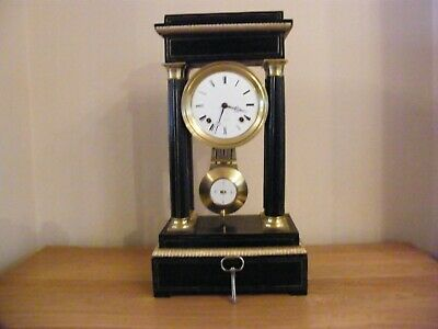 Superb antique French striking inlaid Portico clock good working order