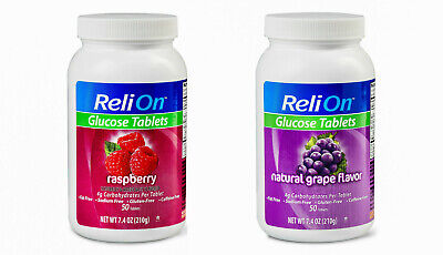 ReliOn Glucose Tablets 2 Flavors to Choose Raspberry & Grape 50 Tablets Pack