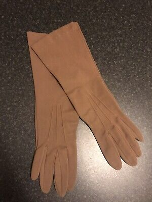 Ladies true vintage  Brown 3/4 Length Nylon Gloves