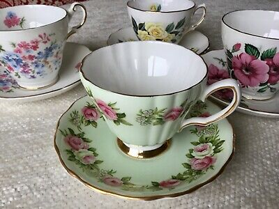 Mismatched English Bone China Tea Cups and Saucers ~ Lot of 4 ~ Tea Party